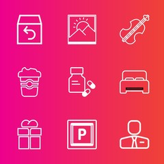 Premium set with outline vector icons. Such as bed, blank, delivery, picture, violoncello, employer, gift, photo, medical, return, street, employee, car, service, musical, bedroom, art, order, road