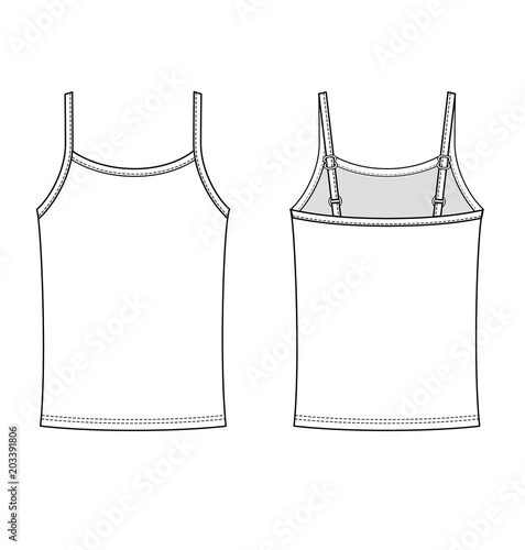 Tank Top Fashion Vector Illustration Flat Sketches Template Stock