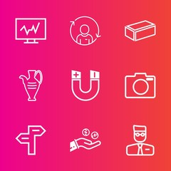 Premium set with outline vector icons. Such as hand, diagnostic, way, man, business, person, photo, test, arrow, health, technology, quality, equipment, account, direction, management, hospital, web