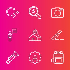 Premium set with outline vector icons. Such as leather, backpack, musical, concept, search, find, equipment, photography, moonlight, star, online, communication, trumpet, rucksack, modern, digital