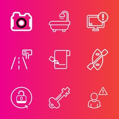 Premium set with outline vector icons. Such as photographer, warning, house, open, interior, home, computer, list, desktop, vintage, paper, lens, traffic, white, protection, canoe, equipment, camera