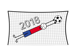 Football goalkeeper at the gate in a ball jump. Symbolical cartoon figure in red and blue. Vector graphics.