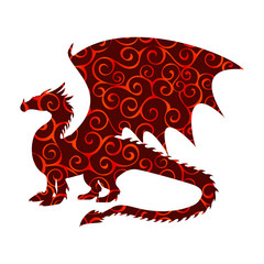 Dragon fantastic pattern silhouette symbol mythology fantasy.