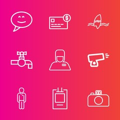 Premium set with outline vector icons. Such as hotel, bellhop, photography, chat, ocean, military, balance, credit, sink, camera, communication, account, war, beach, tropical, bubble, boy, bathroom