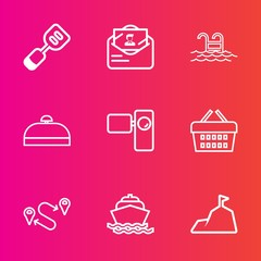 Premium set with outline vector icons. Such as cook, camera, sign, blue, envelope, position, luggage, sky, kitchen, swimming, suitcase, ocean, sale, boat, travel, sea, retro, post, water, nature, bag