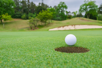 Golf ball on the beautiful green of the turf. Golf course with a rich green turf beautiful scenery.