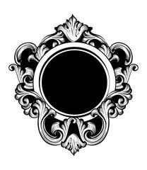 Vintage luxury mirror frame Vector. Baroque intricate ornament line arts