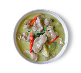 traditional thai green curry on white background