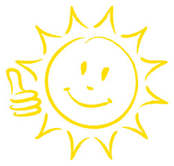 Hand Drawn Sun Thumb Up Yellow