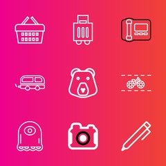 Premium set with outline vector icons. Such as vehicle, cartoon, retail, hand, alien, airport, shop, buy, transportation, bike, office, technology, write, transport, suitcase, pencil, business, travel