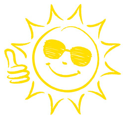 Hand Drawn Sun Thumb Up Sunglasses Yellow