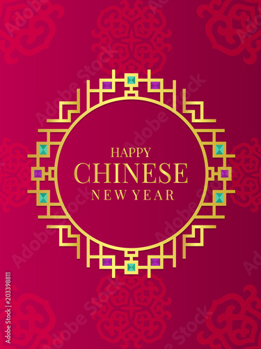 happy chinese new year banner in gold gold abstract line chinese art circle frame and diamond