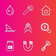 Premium set with outline vector icons. Such as liquid, nurse, equipment, sign, building, transparent, metal, medical, field, magnetic, aluminum, internet, drink, pole, work, bottle, healthcare, drop