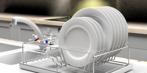 Dish drying rack with white plates on a white kitchen counter. 3d illustration