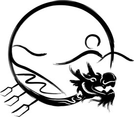 Dragon boat Ink painting design icon