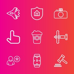 Premium set with outline vector icons. Such as travel, minute, aircraft, mug, camera, justice, cafe, click, sky, care, property, business, jetliner, aviation, protection, war, lens, jet, photography