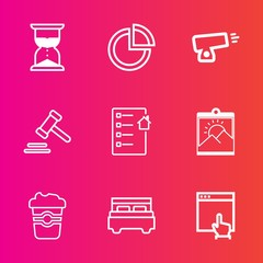 Premium set with outline vector icons. Such as time, countdown, business, lawyer, weapon, contract, minute, sand, real, web, graphic, chart, war, interior, website, estate, courthouse, hourglass, bed