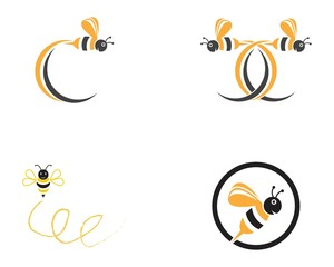 Bee icon logo design vector illustration