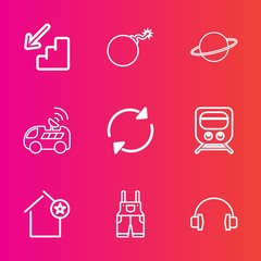 Premium set with outline vector icons. Such as falling, clothing, technology, nuclear, destruction, upstairs, apartment, wear, reload, downstairs, refresh, down, sound, travel, war, up, stairs, home