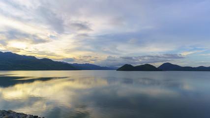 Beauriful scenery of Srinagarind Reservoir or Srinakharin dam with reflection , Kanchanaburi , Thailand