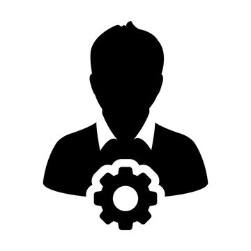 Gear icon vector male user person profile avatar symbol with cog wheel sign in flat color glyph pictogram illustration