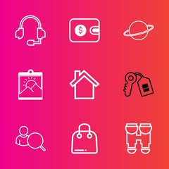Premium set with outline vector icons. Such as communication, dollar, photo, web, space, sign, picture, view, buy, door, home, paper, mobile, retail, house, cell, headset, microphone, purse, support