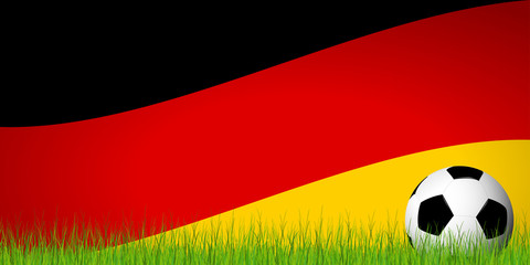 soccer ball in front of german flag