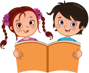 Vector illustration of girl and a boy holding a large book.