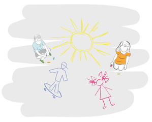 children draw chalk on the asphalt. child's drawing, boy, girl and sun. vector illustration.