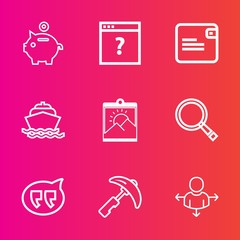 Premium set with outline vector icons. Such as banking, ocean, bag, modern, crane, pig, travel, direction, water, cash, bank, economy, frame, wallet, web, industry, finance, message, search, business