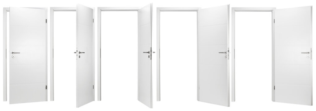 white wooden modern interior door collection set with different open closed situations isolated on white background