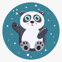 Cute panda bear vector illustration. Flat design.