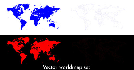 Vector world map illustration isolated over white and black background