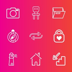 Premium set with outline vector icons. Such as bag, interior, down, file, technology, home, building, change, chair, concept, armchair, light, photography, digital, up, style, folder, estate, white