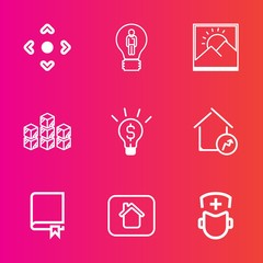 Premium set with outline vector icons. Such as building, inspiration, factory, innovation, border, medicine, study, image, encyclopedia, idea, frame, library, business, storehouse, photo, computer