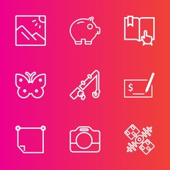 Premium set with outline vector icons. Such as travel, open, message, background, click, reel, space, handle, fish, photography, cash, butterfly, equipment, stick, tourism, check, scenery, technology