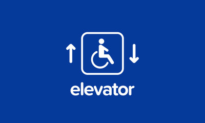 Handicap Elevator Sign Vector Illustration with Up and Down Arrows