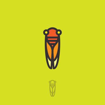 Cicada flat logo. Cicada icon. Linear logo. Yellow-orange small cicada on a green-yellow background. Monochrome option.
