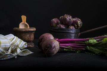 Red Round Turnip on dark background