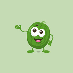 Illustration of cute watermelon mascot that introduces something great isolated on light background. Flat design style for your mascot branding.