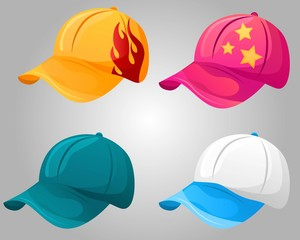 Set of colorful and different baseball cap. Variety of design and styles, multicolor design of youth accessory. Vector illustration