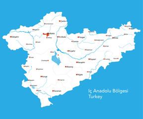 Large map of the turkish area of Ic Anadolu Bölgesi.