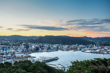 Aerial view of Wellington City with sunset from Mt Victoria  - New Zealand