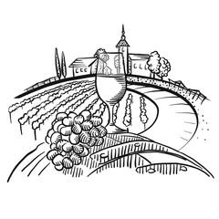 Wine on barrel and vineyard landscape