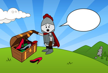 The little knight finds a treasure chest of shoes and screams plaintively