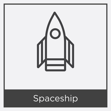 Spaceship icon isolated on white background