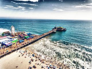 Aerial view of Santa Monica Pier, California - USA Wall mural