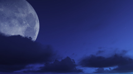 3D Rendering Night, Cloudy Moon Sky Background