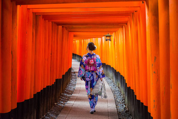 Woman in traditional kimono walking at torii gates, Japan