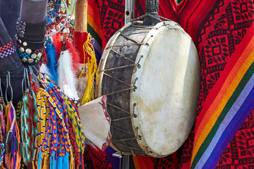 Indian ethnic leather drum.